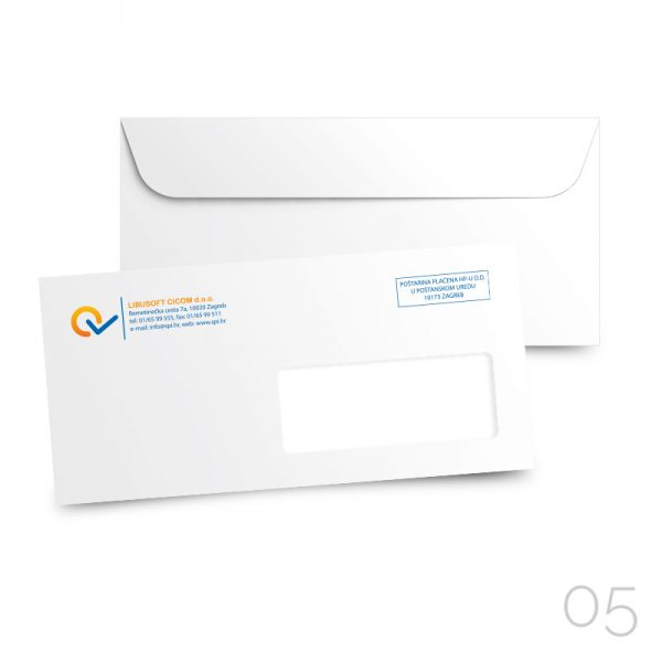 05 kuverta american desni prozor DP, tisak kolor 4/0