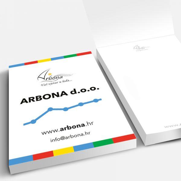 Arbona, A5, 50 lista, tisak listova 2/0, tisak omota 4/0, omatanje, otvaranje gore-dolje