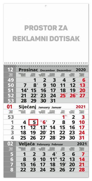 Trodjelni sivi kalendar sa spiralom