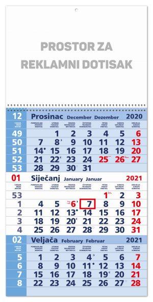 Trodjelni plavi kalendar sa spiralom