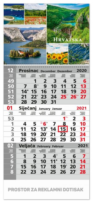 Trodjelni sivi kalendar sa slikom u zaglavlju