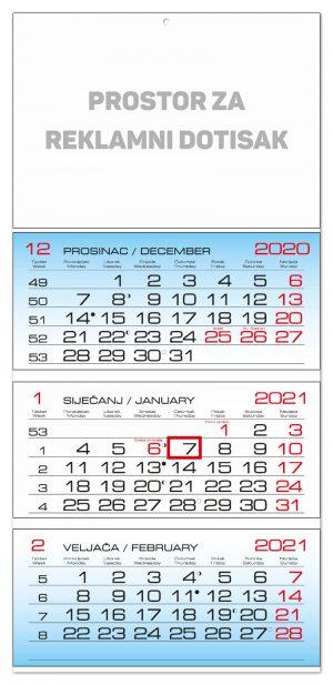 Trodjelni savijani kalendar s 3 bloka