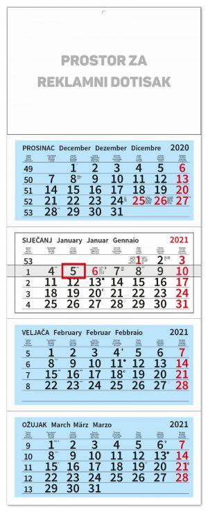 Četverodjelni plavi kalendar