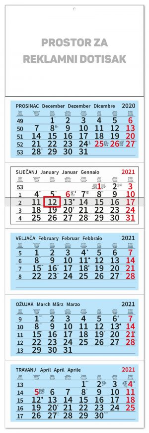 peterodjelni plavi kalendar