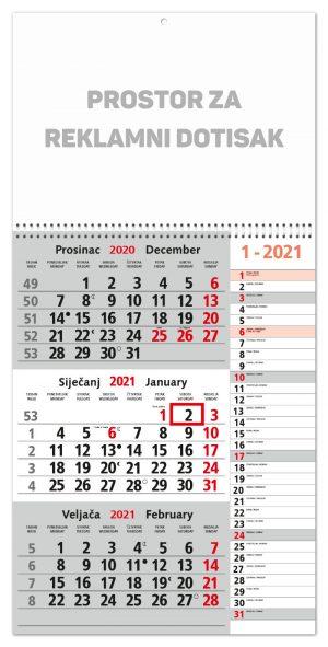 Trodjelni sivi kalendar MEMO