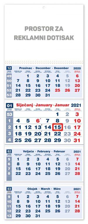 četverodjelni crveni kalendar