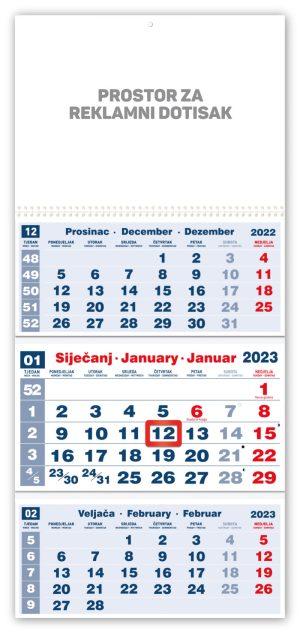 Veliki trodjelni crveni kalendar